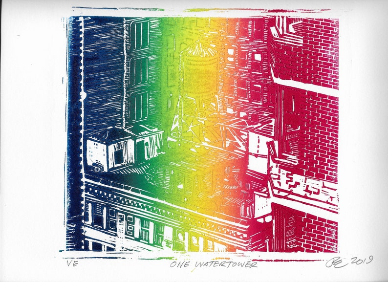 ONE WATERTOWER RAINBOW Roll linocut hand-carved hand-pulled image 0