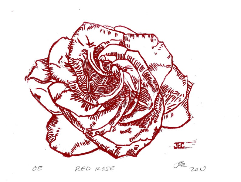 ROSE PRINTS  Hand-carved hand-pressed linoleum relief image 0