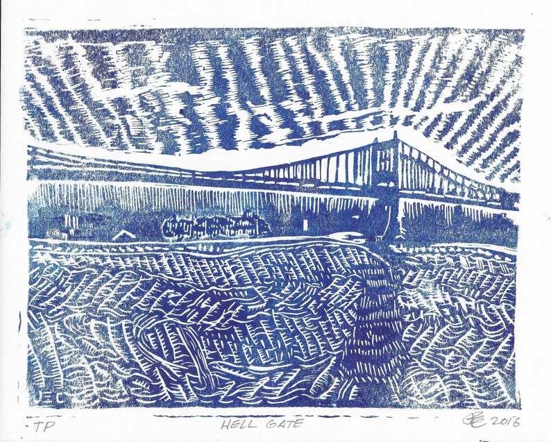 Hell Gate linocut relief print 8x10 various Blue