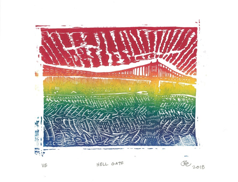 Hell Gate RAINBOW ROLL  hand carved linocut relief print image 0