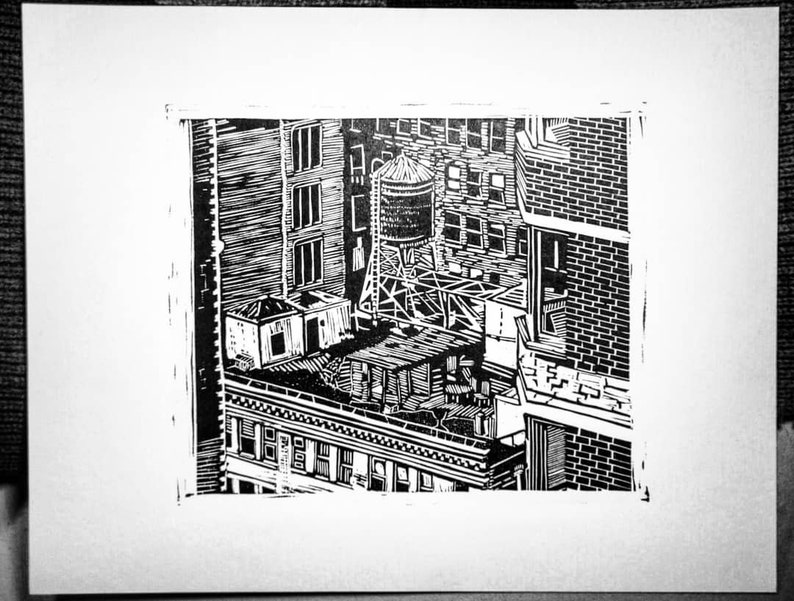 ONE WATERTOWER linocut hand-carved hand-pulled relief print image 0