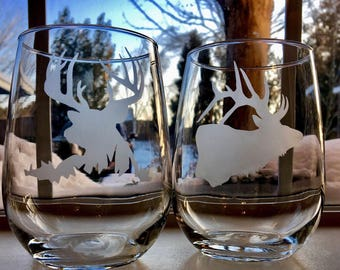 Elk and Deer stemless wine glasses
