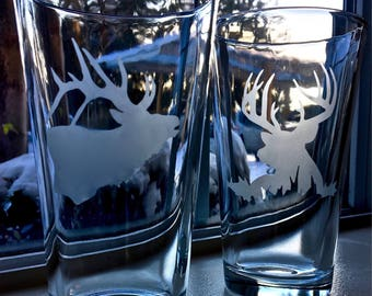 Etched Elk and Deer pint glasses