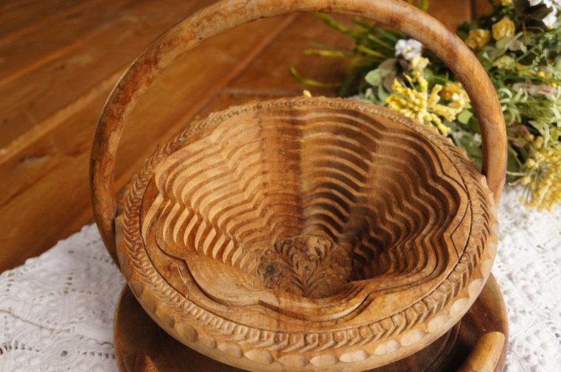 Wood Bowl Carved Wooden Basket Collapsible Bowl Collapsible Wood Basket Rustic Home Decoration Antique Wood Basket Antique Wood Bowl