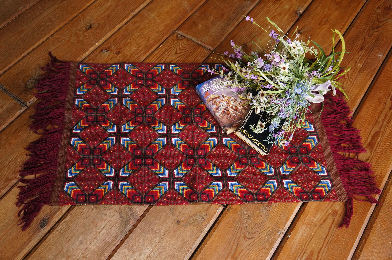 Vintage Red Kilim Rug Boho Area Carpet Textile Wall Hanging Traditional Home Decor