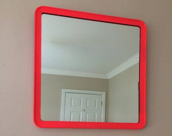 Fire Red Vintage 1980s Mirror Trapezium Shaped