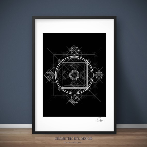Circular Geometric Art Picture Poster Mathematics Geometry Framed Print