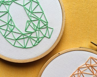Geometric Initial Letter - Hand Embroidered Hoop Art - Custom Color