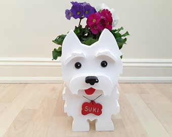Westie ornament, custom made, wooden dog, plant pot holder, lovely gift for yourself or a loved one