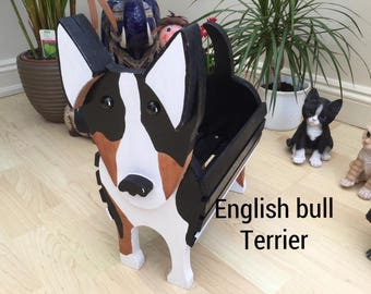 ENGLISH BULL TERRIER.wooden dog planter,garden ornament