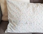 Country house pillow case, pillowcase 65 x 40 cm, original vintage cotton - new - blue flowers on white background,