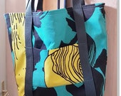 """Fabric bag with handle, 40 x 34 cm, 15.5x13.5"""", unique, great colors black, yellow, turquoise, shopper,"""