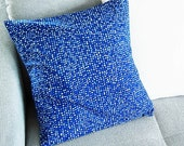 Country house pillow case, pillowcase 40 x 40 cm, blue dotted, upcycled,