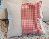 red-white-checked country house pillow case from vintage peasant bedding, 40 x 40 cm, pillowcase, unique