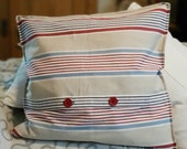 """square cushion with red decorative buttons, pillowcase, cover, 50 x 50 cm, 19.7x19.7"""", red blue beige striped pillow, buttons retro,"""