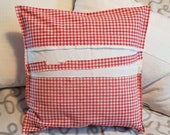 """red-white-checked country house pillow case made of vintage peasant bedding, 40 x 40 cm, 15.7X15.7"""", pillowcase, unique,"""