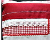 """Country house pillowcase, pillowcase patchwork vintage, 40 x 40 cm, 15.75x15.75, """"pillow cover red white with tip and button,"""