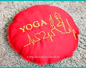 """YogaPillow red round embroidered with YOGA, meditation pillow, diameter 27 cm, 10.5, """"pillows, headrest, reading aid, neck pillows,"""