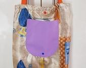 light fabric bag foldable, carrying bag, 42 cm x 34 cm, tote bag, shopper, gym bag, unique
