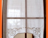 White vintage curtain wit...