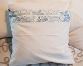 vintage upcycled pillow case, blue and white button placket, white modern buttons, pillow cover, 40 x 40 cm,