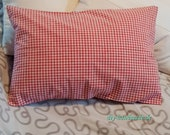 """vintage pillow cover red white checkered, 60 x 40 cm, 23.6X15.7"""", handwoven peasant fabric, original button placket, cotton,"""