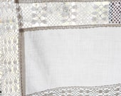 vintage curtain l 130, w 49/55 cm with lace, white windscreen curtain