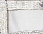 Vintage Gardine l 132, b 58 with Lace, white Disc Gardine, Curtain
