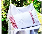 """vintage country-style pillowcase with monogram OR, 40 x 60 cm, 23.6x15.7"""", patchwork pillow,"""