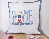 """Gift for mom or grandma, white cotton pillow embroidered with blue satin ribbon, 40 x 40 cm, 15.75x15.75"""","""