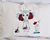 """cushion, embroidered pillow, 50 x 33 cm/ 20x13"""","""
