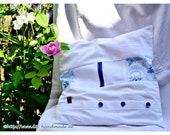 """Patchwork, white pillow coating, blue button bar, blue buttons, vintage pillow case, 40 x 40 cm, 15.4 x15.4, """""""
