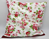 """Cushion cover with rose pattern, roses and red pillowcase, zipper, unique, 40 x 40 cm, 15.75x15.75"""","""