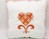 Yoga pillow embroidered white-orange, 40 x 40 cm, cuddly pillow, unique, pillow