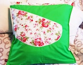 """grass-green cushion cover with rose application, unique, 50 x 50 cm, 20"""" x 20"""", zipper, pillow cover,"""