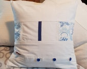 """Patchwork, white pillow cover, blue button placket, blue buttons, vintage pillow cover, 40 x 40 cm, 15.4 x15.4"""","""