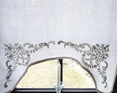 vintage embroidered country house curtain white, curtain, l 106 cm x w 74.5 cm, curtain, unique