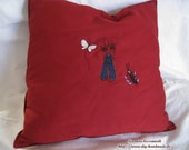 """red cotton cuddly pillow, 40 x 40 cm/ 16x16"""", cuddly pillow with small sailor,"""