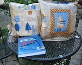 """4 cushion covers retro, upcycling, 40 x 40 cm, 15.8x15.8"""", original 70s with sail motif,"""