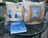 """4 pieces cushion covers retro, upcycled, 40 x 40 cm, 15.8x15.8"""", original 70s with sail motif,"""