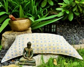 Meditation cushions, ergonomic crescent cushions, L, yoga pillows, green with blue flowers, polyester filling, cotton,