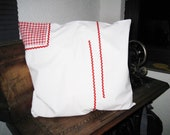"""White cushion cover with insert red white checkered, 40 x 40 cm, 15.75x15.75"""", vintage pillowcase,"""