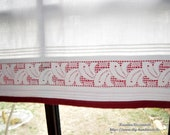 White vintage lace Gardine, country house gardine with tunnel cover, l 72 cm, b71cm, disc curtains, curtain, window decoration, shabby,