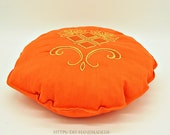 """Yoga meditation pillow with embroidery, orange with gold, D 30 cm, 12, """"round pillow, seat cushions, pillows,"""