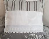 """Country cushion as decorative pillow, cushion decoration grey white with inner cushion, 50 x 50 cm, 19.5""""x19.5"""", unique, gift"""