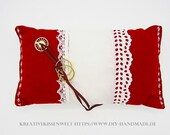 """Red ring cushion with white lace, approx. 23 x 12 cm, 9x5"""", ring carrier pillow wedding, wedding ceremony,"""