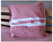 """Vintage Cotton Cottage Pillow cover, 40 x 40 cm, 15.7 x 15.7 """", white, red, checkered, button strip, hand-woven farmer's bedding,"""