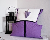 Purple cuddle cushions, 38 x 44 cm, cotton cushions with heart as a gift, unique,