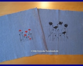 Blue square with poppy fl...