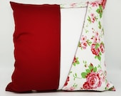 """Pillow cover roses red and white, cushion cover with rose pattern, unique, upcycled, 40 x 40 cm, 15.75x15.75"""","""